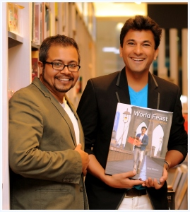 Dev with autographed copy of Vikas Khanna's new book