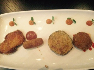 L to R: Fish Fry, Prawn Croquet, Brinjal Fry and Banana Flower Croquet.
